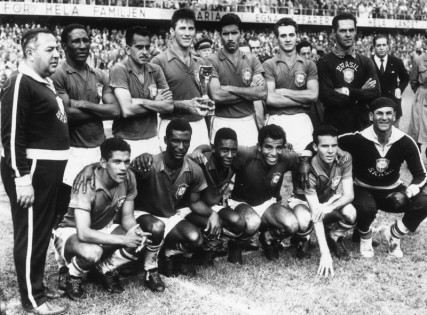 1st July 1958: The Brazilian team after their 5-2 victory over Sweden in the World Cup Final match in Stockholm, to take the Jules Rimet trophy for the first time. (Photo by Central Press/Getty Images)