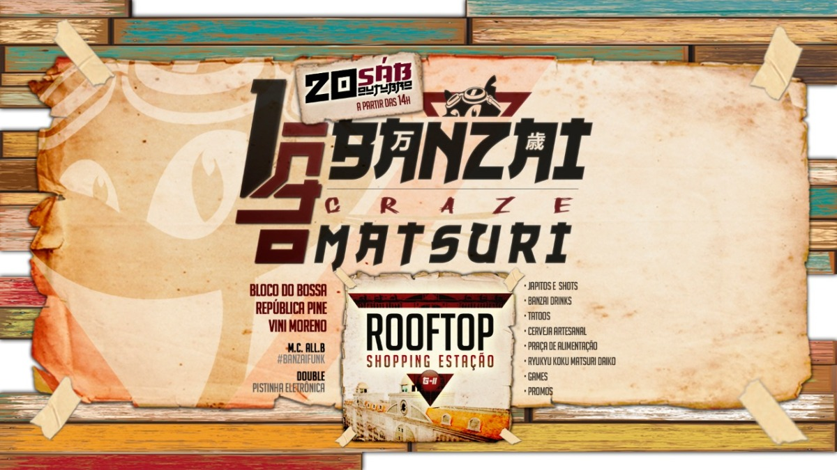 Rooftop do Shopping Estação recebe festa de 1 ano do bar Banzar Craze, com drinks e petiscos japoneses