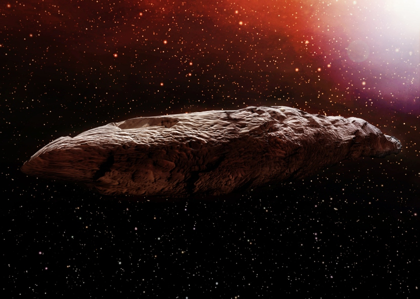 A 3D illustration of the interstellar object known as Oumuamua. Originally classified as an asteroid, Oumuamua is an object estimated to be about 230 by 35 meters (800 ft x 100 ft) in size, travelling through our solar system.