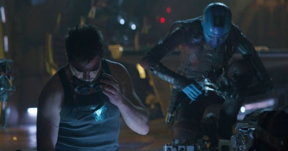 Marvel Studios' AVENGERS: ENDGAME..L to R: Tony Stark/Iron Man (Robert Downey Jr.) and Nebula (Karen Gillan)..Photo: Film Frame..©Marvel Studios 2019