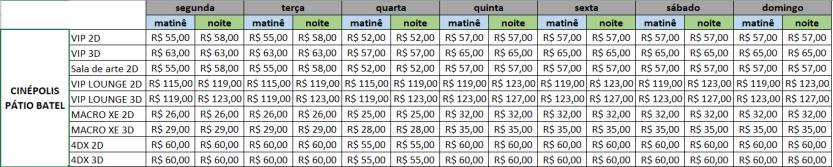cinépolis preços