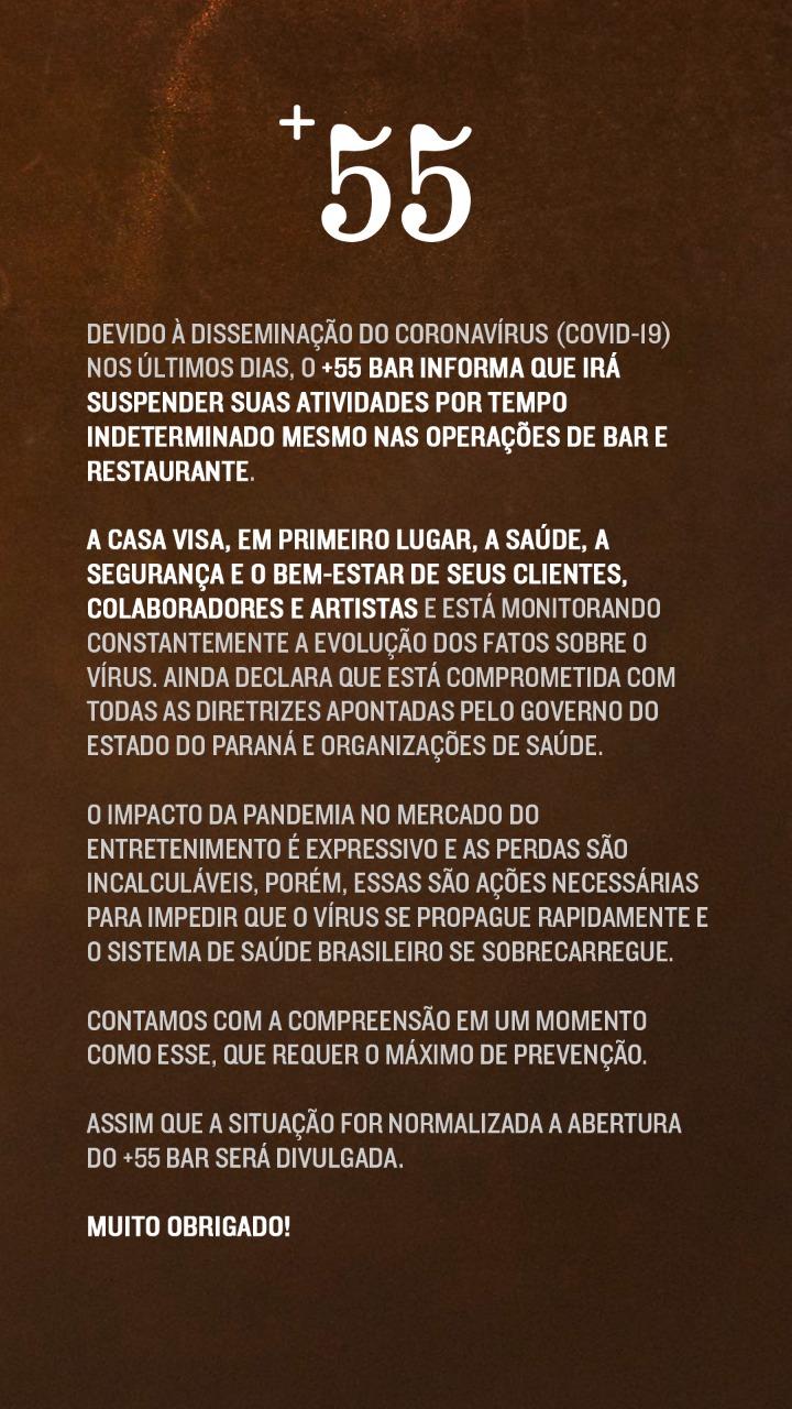 Comunicado Oficial +55 Bar