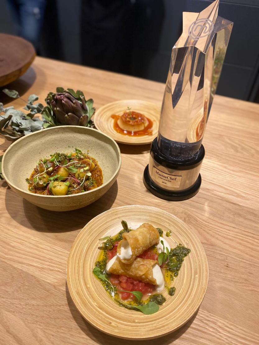 Pratos preparados pelo chef durante a live privada