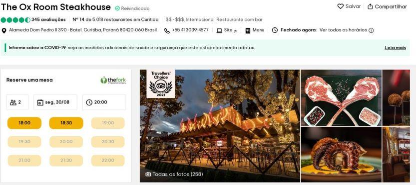 OX Room Steakhouse - premio Trip Advisor - foto divulgacao